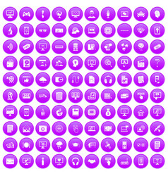 100 website icons set purple vector