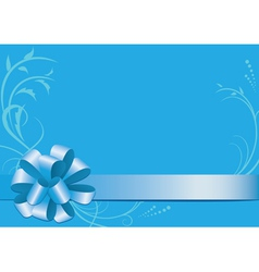 blue decorative card with bow-knot vector image