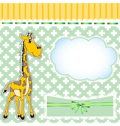 Background for children with a giraffe and a bow vector