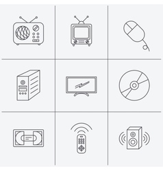 Retro TV radio and DVD disc icons vector image