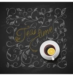 Cup tea with lemon Chalkboard hand drawing vector image