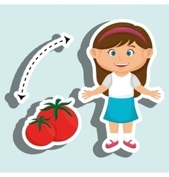 Girl cartoon tomato vegetable health vector