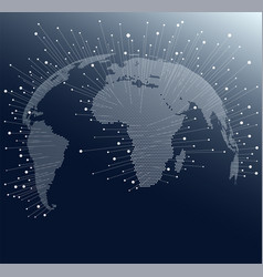 World map with dots and lines global network vector