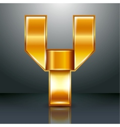Letter metal gold ribbon - y vector