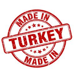 Made in turkey red grunge round stamp vector