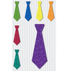 Bright filigree silk tie stickers in format vector