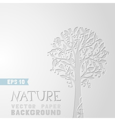 Tree with music notes on paper background vector