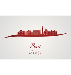 Bari skyline in red vector image