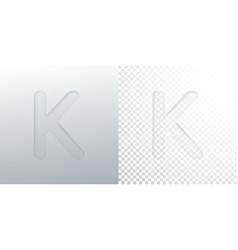 3d paper cut letter k isolated on transparent vector image