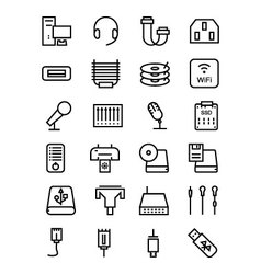 Computer hardware line icons 4 vector
