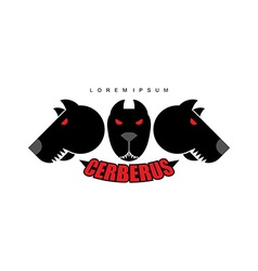 Cerberus-warrior dog logo of heads of dogs scary vector