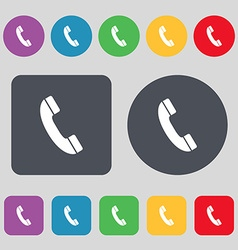 Call icon sign a set of 12 colored buttons flat vector