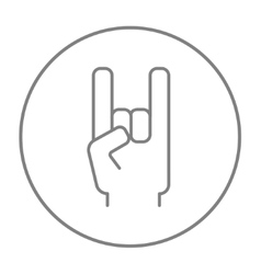 Rock and roll hand sign line icon vector
