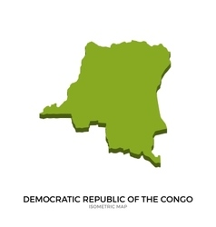 Isometric map of democratic republic of the congo vector
