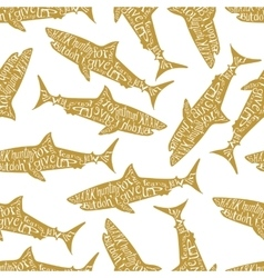 Typography lettering shark pattern vector