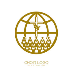 A chorus throughout the earth praises jesus christ vector