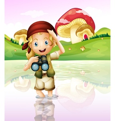 A girl at the lake with her telescope vector image vector image