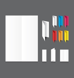 Blank white folding color paper flyer vector