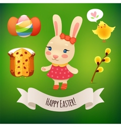 Bunny girl and easter symbols vector