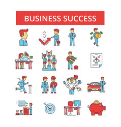 business success thin line icons vector image vector image