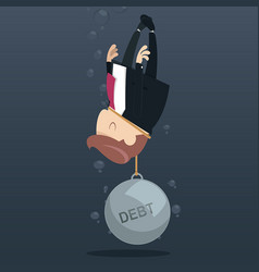 businessman appeal for aid because debt weigh vector image vector image