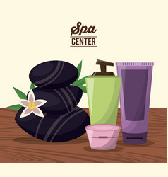 color poster of spa center with black stones and vector image vector image