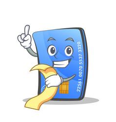Credit card character cartoon with menu vector