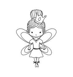 Dotted shape girl dancing ballet with bun hair and vector
