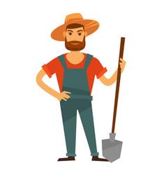 Farmer man with spade in hat farm vector