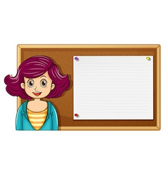 Female teacher and wooden board vector