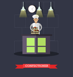 Flat of confectioner and cake vector