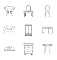 Furniture and home interior set icons in outline vector