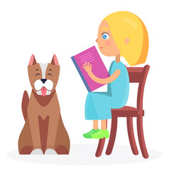 Girl sitting on wooden chair with book and pet vector