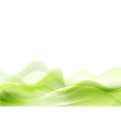 Green shiny waves on white background vector image vector image