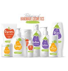 Handmade cosmetic brand template packaging set vector
