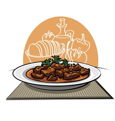 Meat dish goulash vector