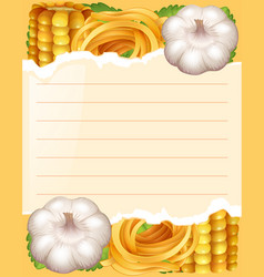 Paper template with pasta and garlic vector