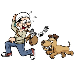 Paperboy running dog vector