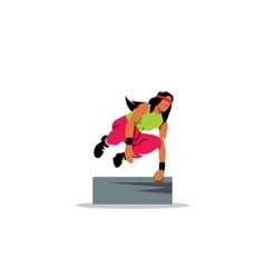 Parkour athlete jumping over a barrier Free vector image