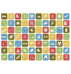 Set of sport icons in flat design with shadows vector