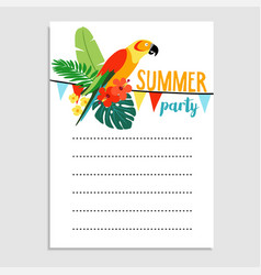 Summer birthday party greeting card invitation vector
