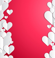 Valentines Day frame with lines of paper hearts vector image