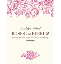 Vintage wedding card with pink roses vector image