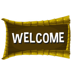 Welcome sign on wooden board vector