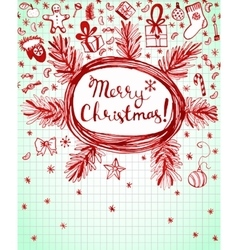 Winter holidays ink doodles on lined background vector