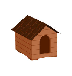 Wooden doghouse isolated icon vector