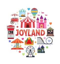 Amusement park round design vector