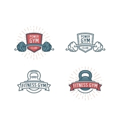 Fitness logo set vector image