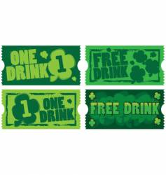 Sty patrick's day drink tickets vector