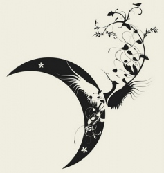 Bird and moon design vector
